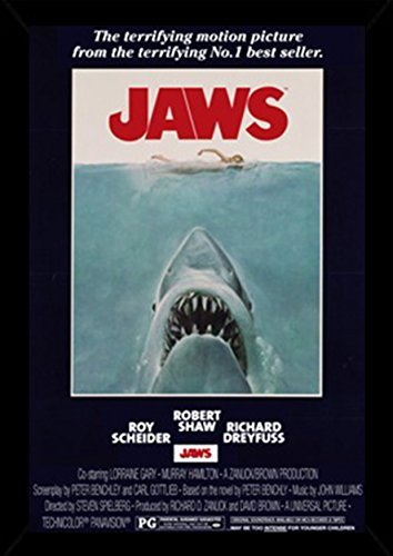 Jaws - One Sheet Poster in a Black Wood Frame  24618-PSA0098
