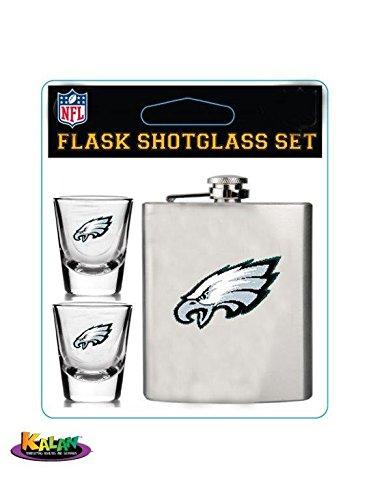 Pro Specialties Group NFL Philadelphia Eagles Shot Glasses & Brushed Stainless Steel Flask Set