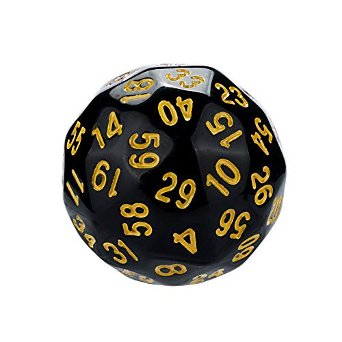 Juner Polyhedral D60 Multi Sided Acrylic Dice Number 1-60 for Board Game Dungeons and Dragons DND MTG RPG Poker Casino Replacement, Math Teaching (Yellow) by Juner (Image #1)