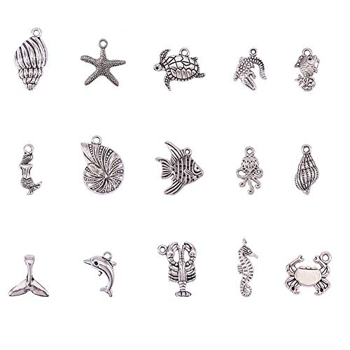 (PH PandaHall 90pcs 15 Style Antique Silver Tibetan Alloy Ocean Fish Seashell Marine Animal Sea Creatures Charms Pendants Beads Charms for DIY Bracelet Necklace Jewelry)