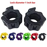 Greententljs 1 Inch Barbell Collar Quick Release Pair of Locking 1-Inch Diameter Standard Weight Bar Plate Clip Clamps for Fitness Training (Black)