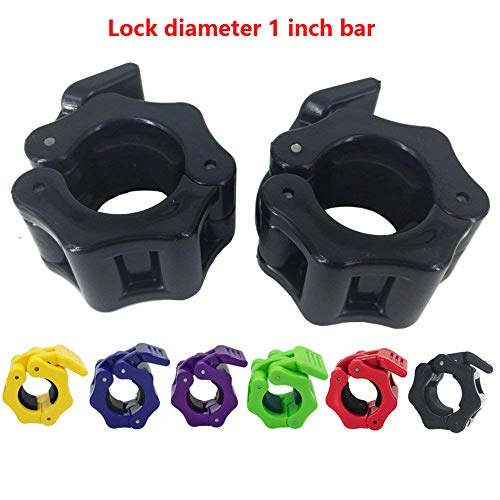 Greententljs 1 Inch Barbell Clamps - Quick Release Pair of Locking 1'' Diameter Standard Bar Weight Plates Collar Clips for Workout Weightlifting Fitness Training Bodybuilding (Black)