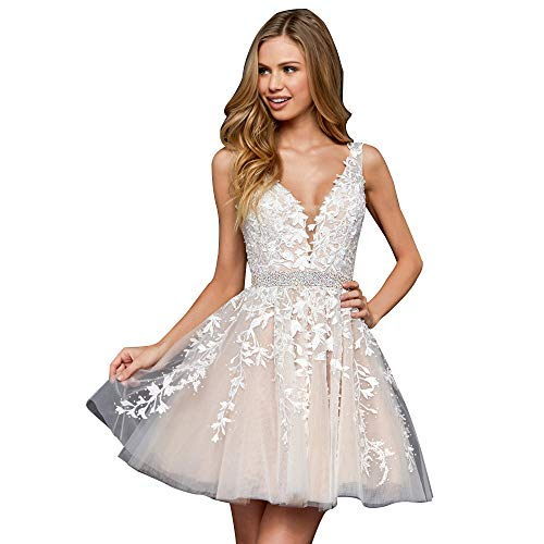 Homecoming Dress Short Lace Applique Beaded Formal Prom Dress V Neck Straps Bridesmaid Gowns Ivory US 12