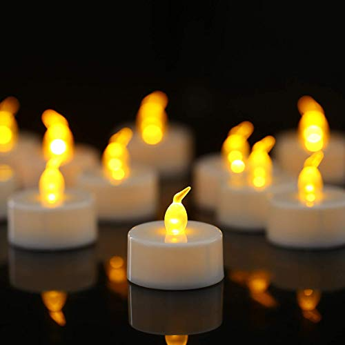 Homemory 100PCS Battery Operated Flickering Flameless Tealight Led Candles, Long Lasting Battery Life, Birthday, Votive, Weddings, Amber Yellow, (D1.4'' x H1.25'') -