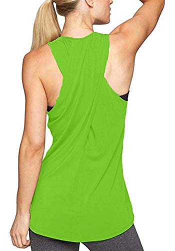 Lofbaz Women's Plus Size Sexy Yoga Tank Tops  Loose Fit Workout Shirts Super Comfy Sleeveless Tunic Criss Cross Sports Tank Top - Lime Green - 3XL (Lime Green Tank Racerback)