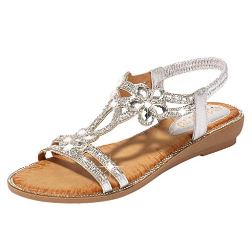 ✔ Hypothesis_X ☎ Women's Summer Beach Bohemia Sandals Crystal Flat Sandals Bling Flower Flat Sandals Beach Casual Shoes Silver (Bella Swan Jacket)