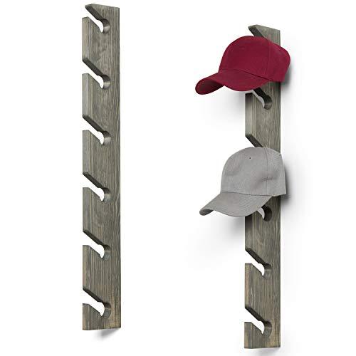 MyGift Set of 2 Vintage Gray Wood 6-Slot Baseball Cap Display Racks
