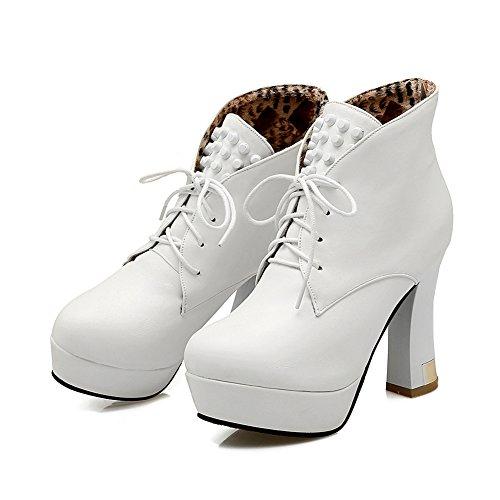 Lucksender Womens Lace Up Chunky High Heel Platform Rivet Boots White UJdZ6A