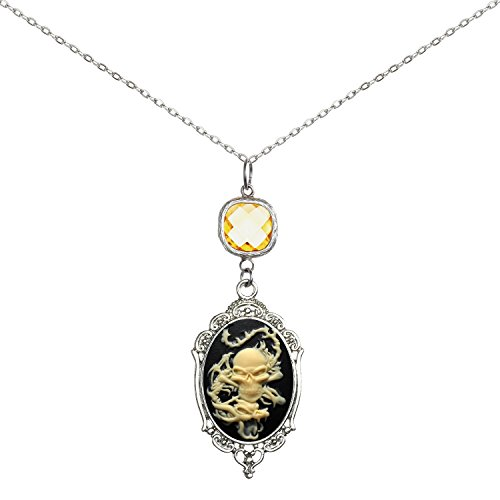 Brilliant Crystal Necklace Sweet Cameo Pendant 2 Chains Gift Jewelry (Dragon) (Cameo Pendant Necklace)