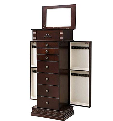 Armoire Grande - Astoria Grand Free Standing Wooden Jewelry Armoire with Mirror, Walnut + Free Basic Design Concepts Expert Guide