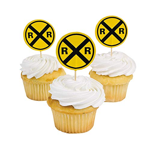 Fun Express - Railroad Sign Paper Picks (25pc) for Birthday - Party Supplies - Serveware & Barware - Picks & Stirrers & Parasols - Birthday - 25 Pieces ()