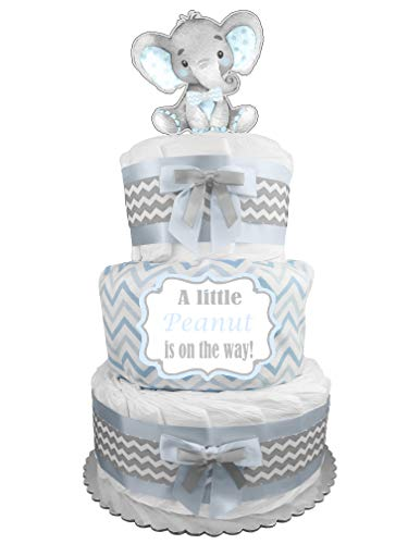 Elephant 3-Tier Diaper Cake - Boy Baby Shower Gift - Blue and Gray ()
