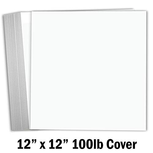 Hamilco White Cardstock Scrapbook Paper 12x12 Heavy Weight 100 lb Cover Card Stock - 25 Pack