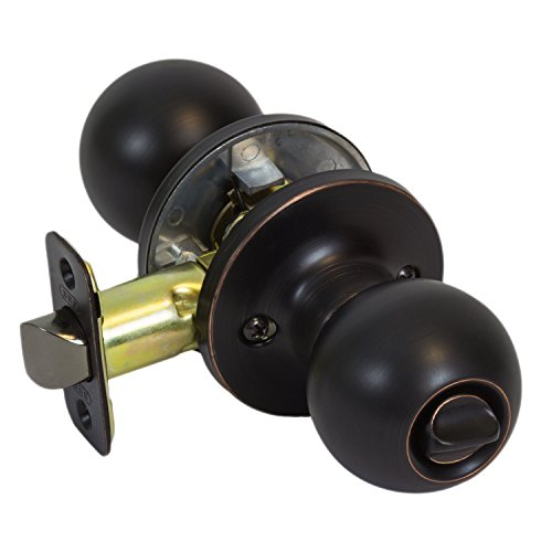 (Burton Harbor Round Ball Bed Bath Privacy Door Knob Lock, Oil Rubbed Bronze)