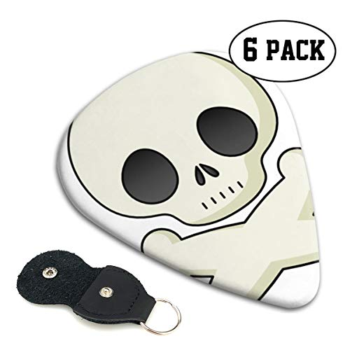 Nice Music Halloween Skeleton Clipart Cute Ultra Thin 0.46 Med 0.71 Thick 0.96mm 4 Pieces Each Base Prime Celluloid Ivory Jazz Mandolin Bass Ukelele Plectrum Guitar Pick Pouch Display]()