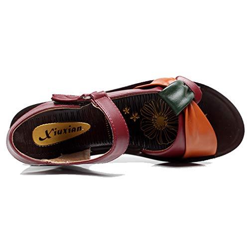 , en robemon maternité souple sport Chaussure plage compensée assortie tigre fond couleur rouge cuir de wXxaXB4