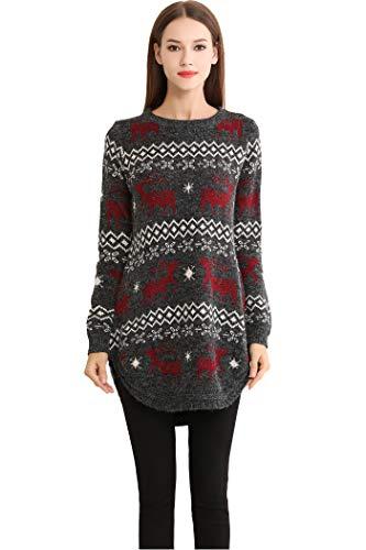 Shineflow Womens Reindeer Snowflake Midi Christmas Pullover Sweater Jumper