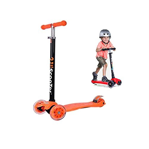 Kingo Scooters for Kids 3 Wheel Scooter for Toddlers 4 Years and Up with Adjustable Height 150lb Limited (Orange)