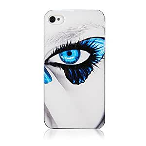 DD Non-mainstream Butterfly Right Eyes Pattern Transparent Frame Back Case for iPhone 4/4S