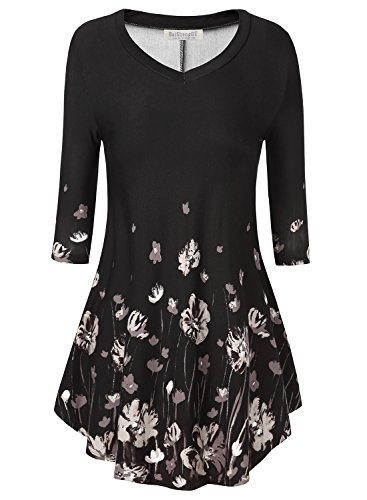 BaiShengGT Women's 3/4 Sleeves Printed V-Neck Flare Tunic Top XX-Large T15 Black Floral
