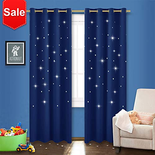 NICETOWN Twinkle Stars Blackout Curtains - Nap Time Essential Kid's Room/Nursery Window Treatment Curtain Panels with Hollow Stars (2-Pack, W52 x L84 inches, Navy Blue) from NICETOWN