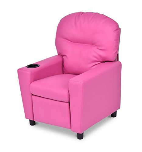 MD Group Kids Sofa Recliner Pink PU & Wood Frame Non-slip Mats Furniture with Cup Holder