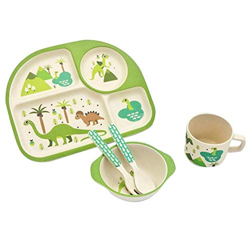 Collection Here Baby Feeding Bowls Wheat Fiber Ultimate Set Fork Spoon And Cup Dinosaur. Bowls & Plates