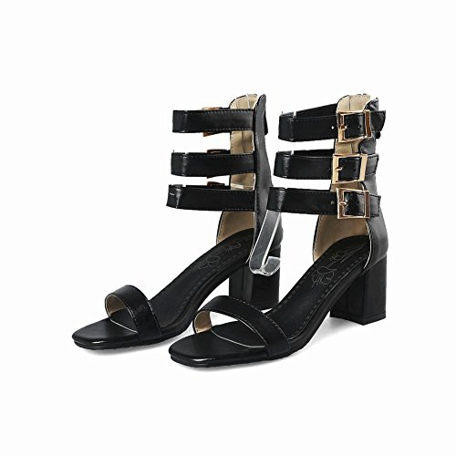 Carolbar Women's Fashion Sexy Block Mid Heel Zip Buckles Dress Sandals Black yA0Vhvf7ky