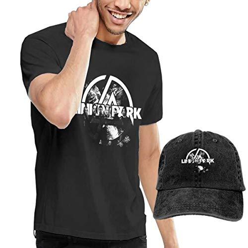 LJXGS Linkin-Band Park Men's Classic T-Shirt with Washed Denim Baseball Hat Black (Linkin Park Band)