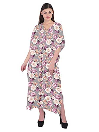 RADANYA Womens Floral Print Long Maxi Caftan Dress Loose Cotton Kaftan Gray
