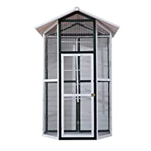 """PawHut 67""""L x 49""""D x 98""""H Large Wooden Bird Cage Parrot Finch Cockatiel Macaw Playing House Outdoor Aviary Pet Supply with Stand"""