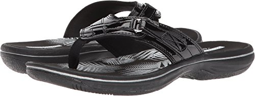 Clarks Women's Breeze Sea Flip Flop, black synthetic patent, 9 B(M) ()