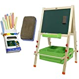 VViViD Premium Double-Sided Whiteboard & Blackboard Wooden Kid's Drawing Easel Stand Including Art Accessory Bundle