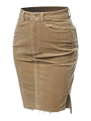 Awesome21 Solid Corduroy High-Rise Pencil Midi Skirt Khaki Size M