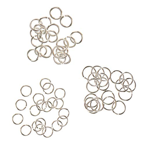 Fenteer 60 Pieces 4mm & 5mm & 6mm 925 Sterling Silver Open Jump Rings Split Rings for DIY Jewelry Making Findings fit Necklace Bracelet Chokers Charms Pendant
