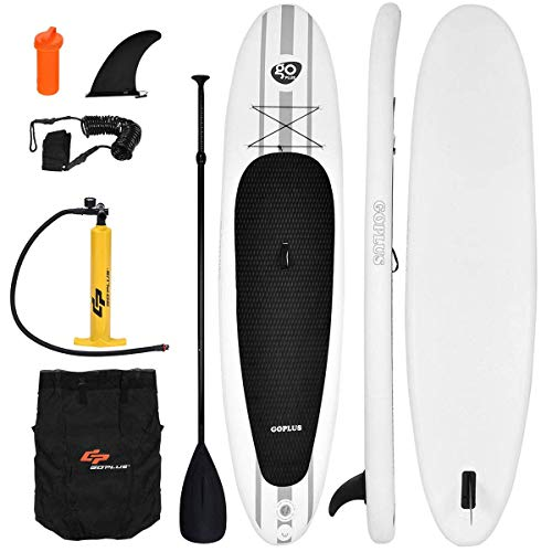 Goplus Inflatable 11' StandUp Paddle Board Package w/ Leash Fin Adjustable Paddle Pump Kit Carry Backpack, 6