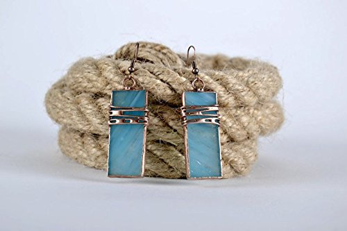 Stained Glass Handmade Long Earrings Made of Copper and Glass Jewelry Ideas