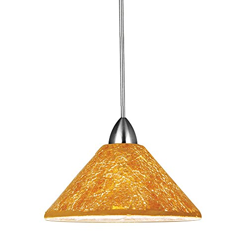 WAC Lighting MP-559-GL/CH Micha 1-Light 12V MonoPoint Pendant with Gold Art Glass Shade with Chrome Finish