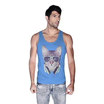 Cero Cool Cat Retro Tank Top For Men - M, Blue