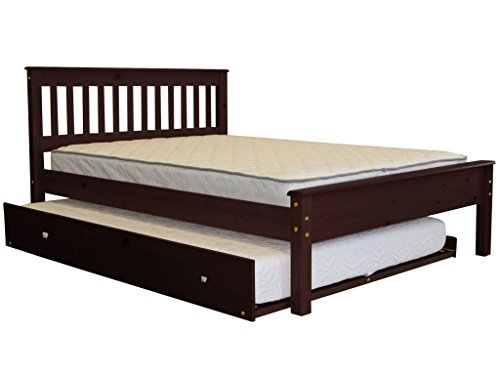 Bedz King Mission Style Full Bed with a Full Trundle, Cappuccino (Bed Trundle King)