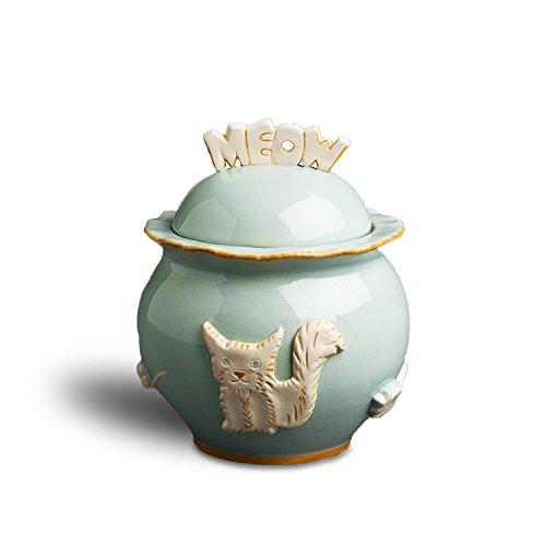 Carmel Ceramica PCJS3004Cat Treat Jar, Sky Blue by Carmel Ceramica
