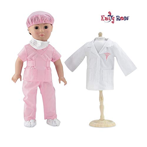 Emily Rose 18 Inch Doll Clothes   Complete 6-Piece Doctor or Nurse Hospital Pink Scrubs Outfit   Perfect Halloween Costume!   Fits American Girl Dolls
