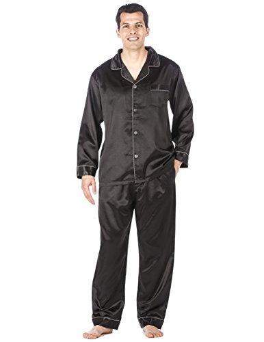 Noble Mount Mens Premium Satin Pajama Sleepwear Set - Black - Medium -