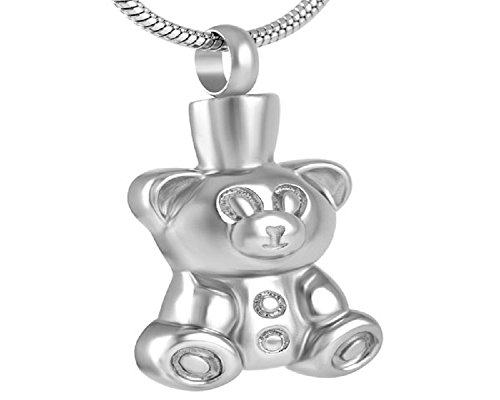 (Casket Etcetera Teddy Bear Cremation Jewelry Urn Necklace keepsake Ashes Holder for Kids Children)