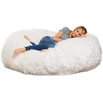 Comfy Sacks 6 Ft Lounger Memory Foam Bean Bag Chair, White Furry
