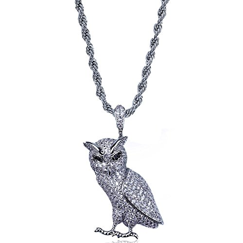 TOPGRILLZ Hip Hop 18K Micro Pave CZ Rhinestone Owl Pendant with 24'' Rope Chain (Silver)