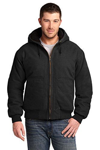 Work Cornerstone Jacket - Cornerstone Men's Washed Duck Cloth Insulated Hooded Work Jacket M Black