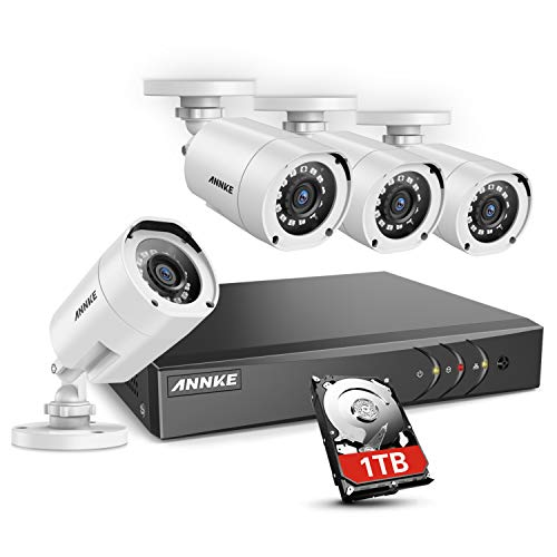 ANNKE 8 Channel Security Camera System 5-in-1 1080P lite H.264 DVR with 1TB Surveillance Hard Disk Drive and 4 1080P HD Weatherproof HD-TVI Bullet Cameras with IR-cut Night Vision LEDs