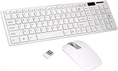 MBK Wireless Keyboard Mouse Combo Kit Ultra Thin Fashion Slim USB Bluetooth Receiver 2.4GHz for PC Tablet Android Laptop Smart TV Compatible with All Windows