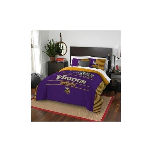 Officially Licensed NFL Minnesota Vikings Draft Full/Queen Comforter and 2 Sham Set (Bedding Vikings Minnesota)